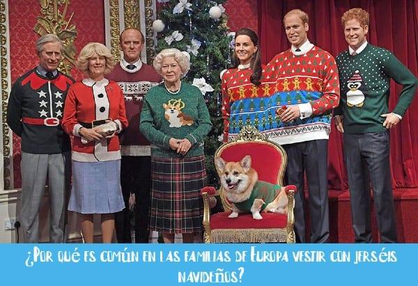 familia real con jerseys navideños